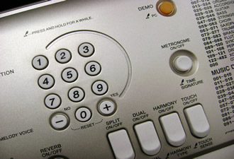 Yamaha PSR-E313 number pad and panel buttons