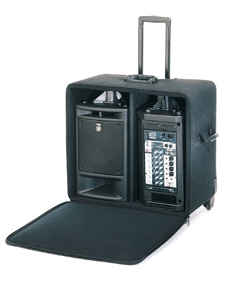 Yamaha Stagepas 300 with rolling carry case